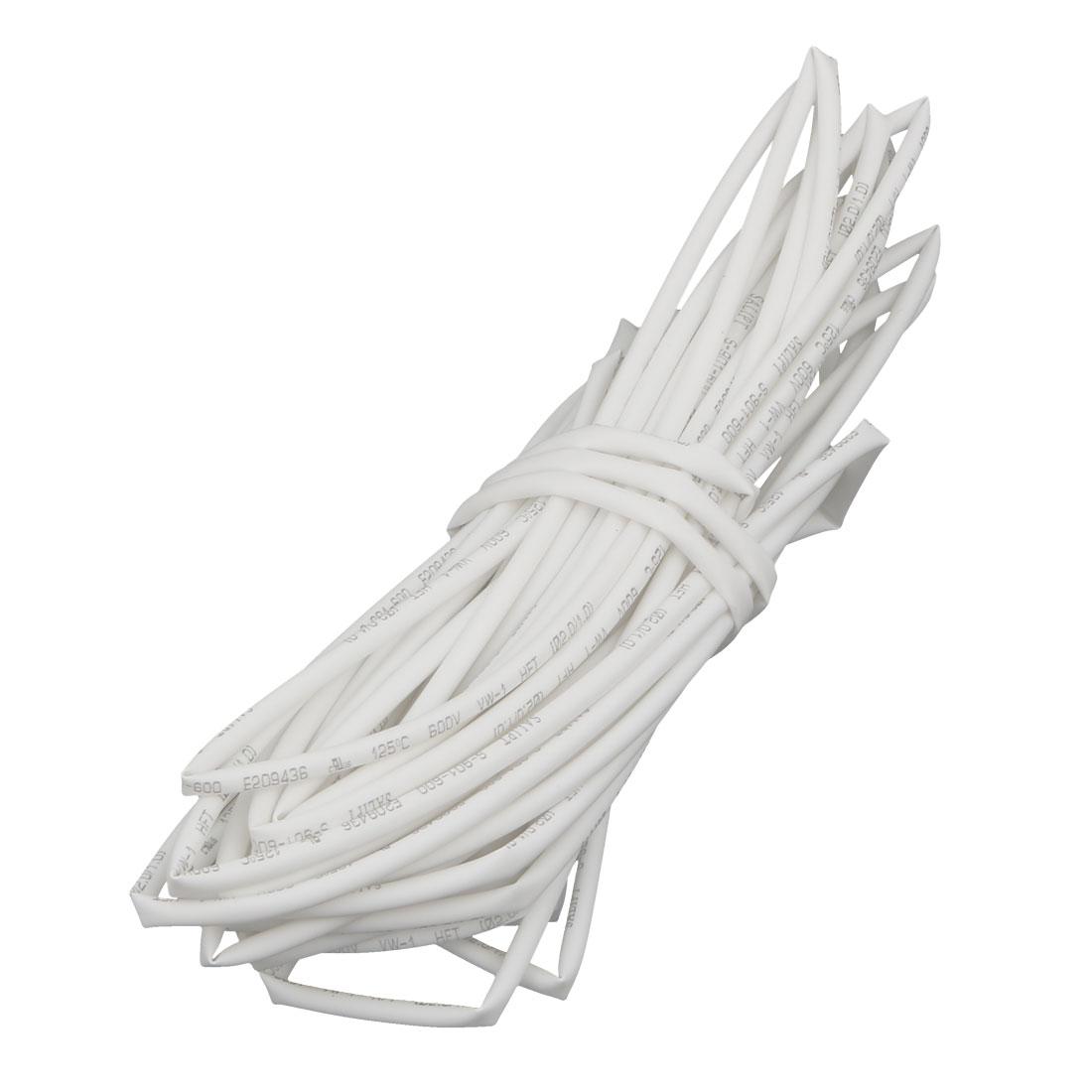 26.2Ft Length 2mm Inner Dia Insulated Heat Shrink Tube Sleeve Wire Wrap White