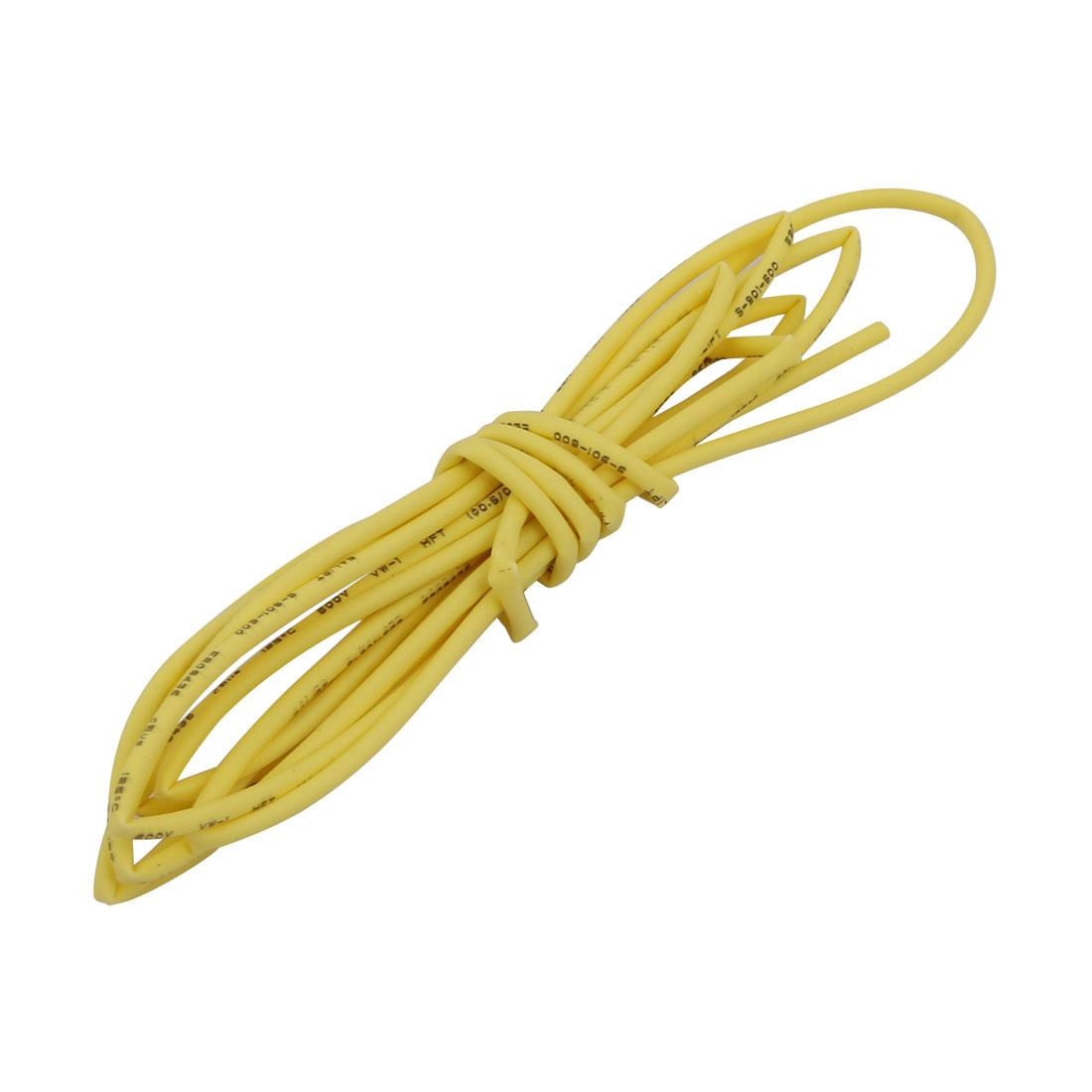 Polyolefin Heat Shrinkable Flame Retardant Tube 1M Long 0.6mm Inner Dia Yellow