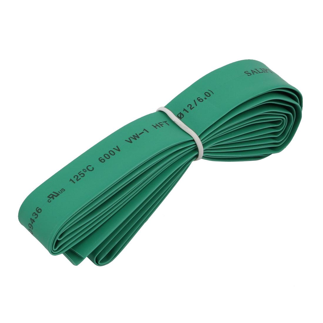Polyolefin Heat Shrinkable Flame Retardant Tube 2M Length 12mm Inner Dia Green
