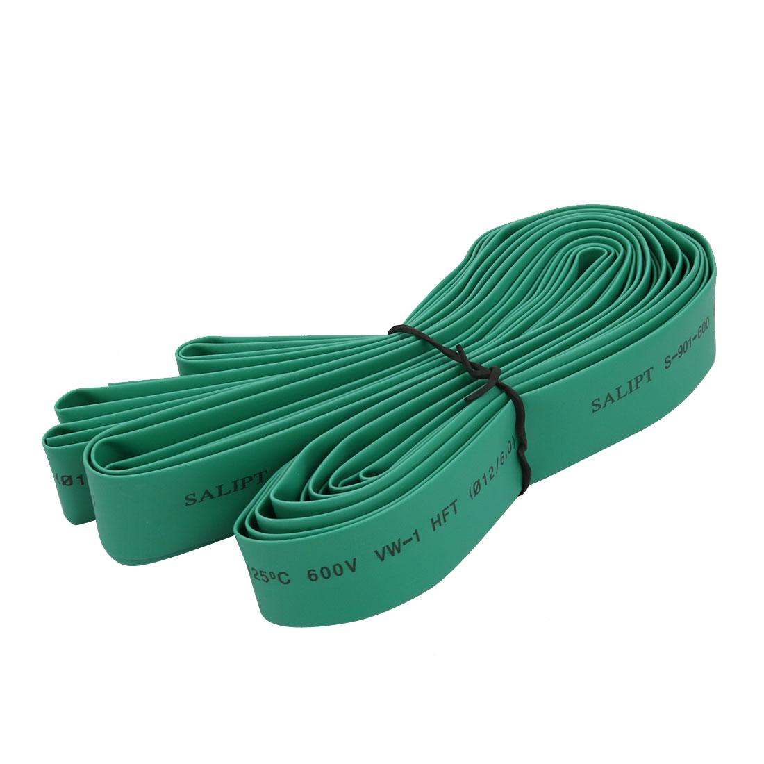 Polyolefin Heat Shrinkable Flame Retardant Tube 5M Length 12mm Inner Dia Green