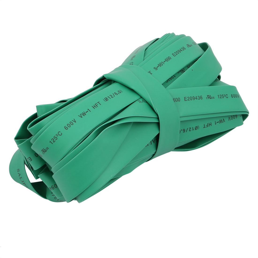 Polyolefin Heat Shrinkable Flame Retardant Tube 15M Length 12mm Inner Dia Green