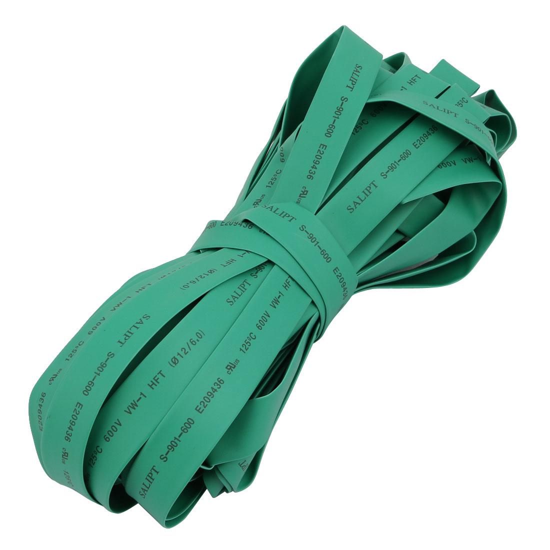Polyolefin Heat Shrinkable Flame Retardant Tube 20M Length 12mm Inner Dia Green
