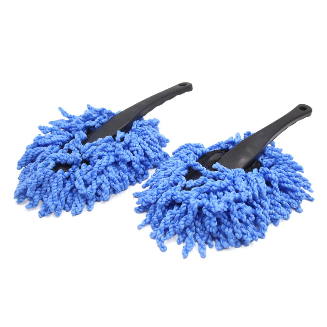 2pcs Blue Microfiber Automobile Car Wax Brush Mop Dirt Duster Cleaning Tool