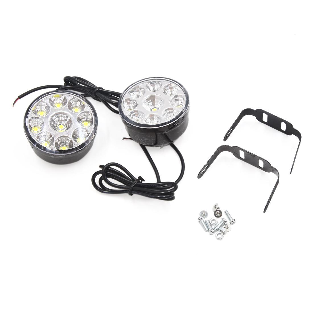 2pcs 12V Black Shell Round Shaped 9 White LEDs DRL Daytime Running Light for Car