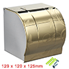 120mmx120mmx125mm 304 Stainless Steel Glossy Paper Holder w Cover Gold Tone