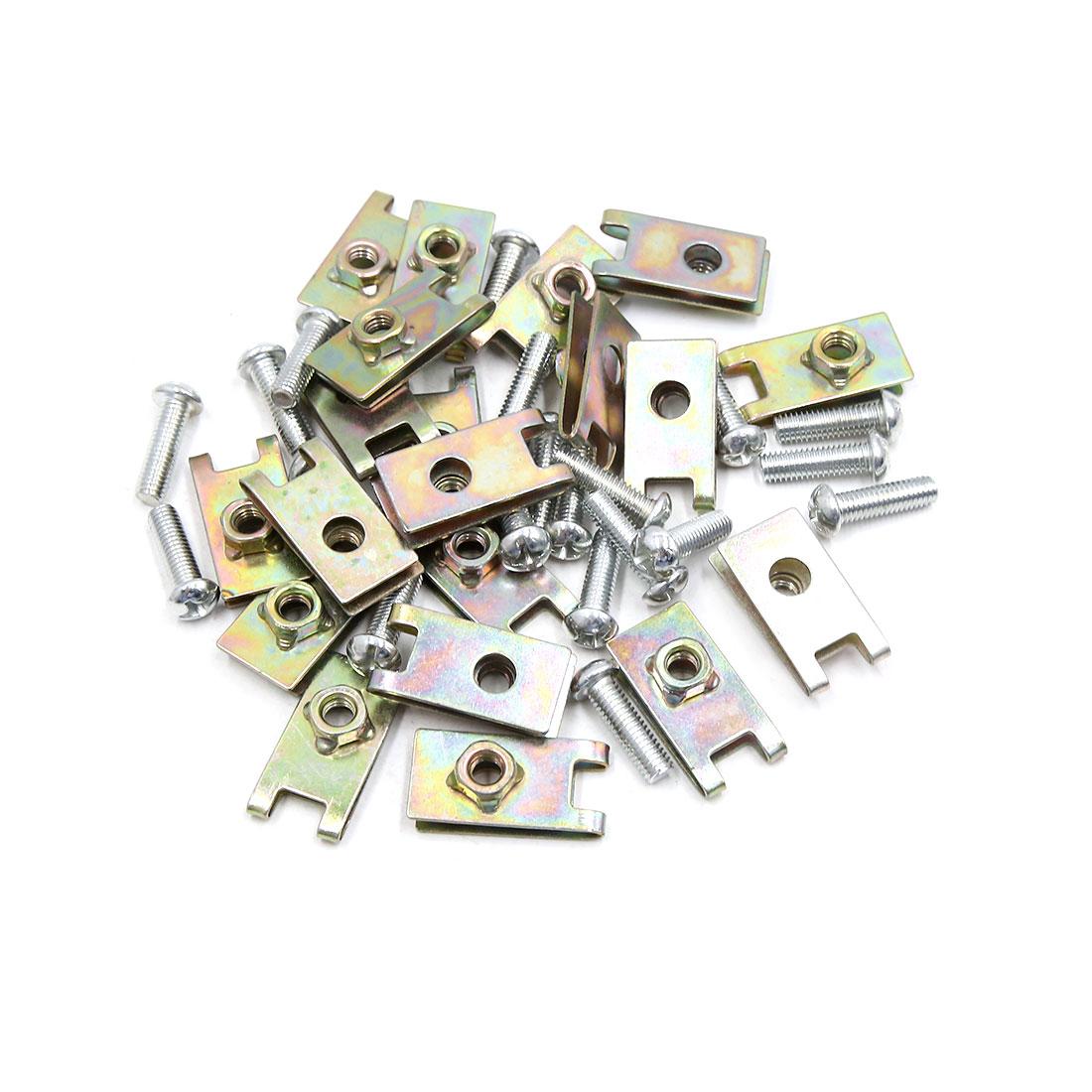 20PCS 6mm Thread Dia Universal Car License Plate Fairing Fixing Clip Kit w Screw