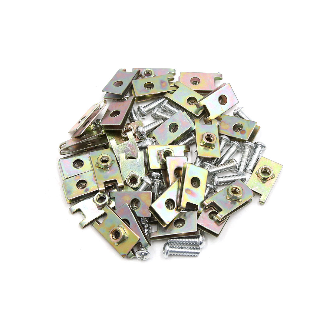 30PCS 6mm Thread Dia Metal License Plate Clips Kit for Motorcycle Car w Screws