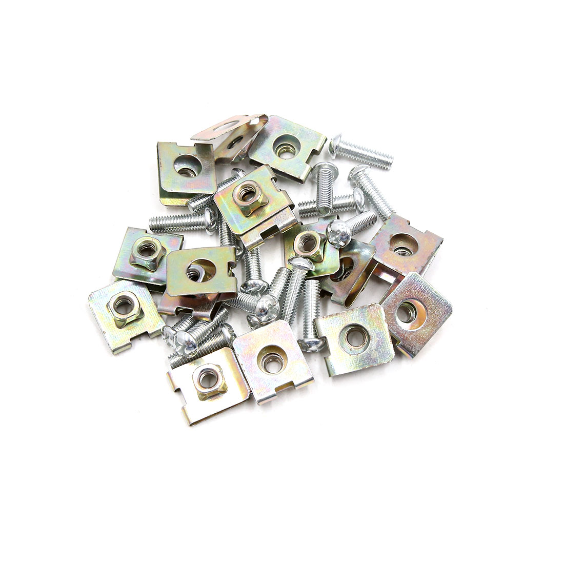 16PCS 6mm Thread Dia License Plate Fixing Clips Kit for Motorcycle Car w/ Screws