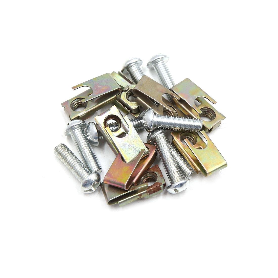 8PCS 6mm Thread Dia Metal Motorcycle Car License Plate Fairing Clips Kit w Screw