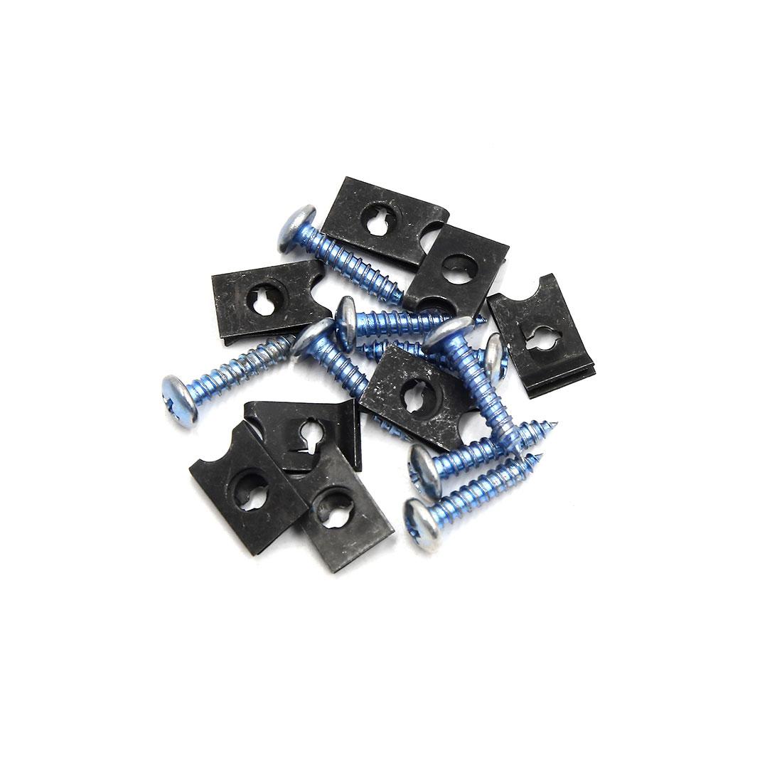 8PCS 4mm Thread Dia License Plate Fairing Bolts Clips Kit for Car w Screws