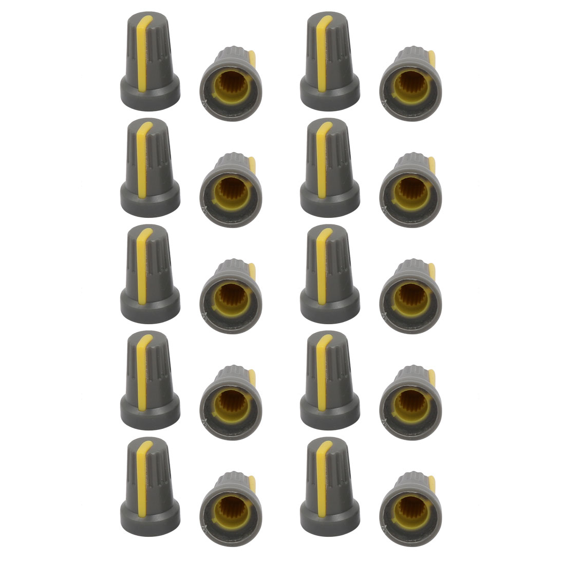 20Pcs 13.6mm Dia 20.4mm Height Plastic Potentiometer Volume Control Rotary Knob Cap Gray Yellow