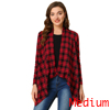 Women Handkerchief Hem Open Front Plaids Cardigan Red M