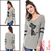 Women V Neck Drop Shoulder Striped Cat Print Tunic Top Gray XS