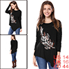 Women Asymmetric Hem Drop Shoulder Feather Print Top Black L