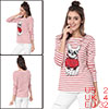 Women Dog Print Boat Neck Long Sleeves Striped Top Red XS