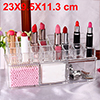 Acrylic Makeup Organizer Drawers Cosmetic Brushes Lipstick Holder Jewelry Storage Case Top and Bottom Set(Lipsticks Holder + 3 Grid Bottom Set)