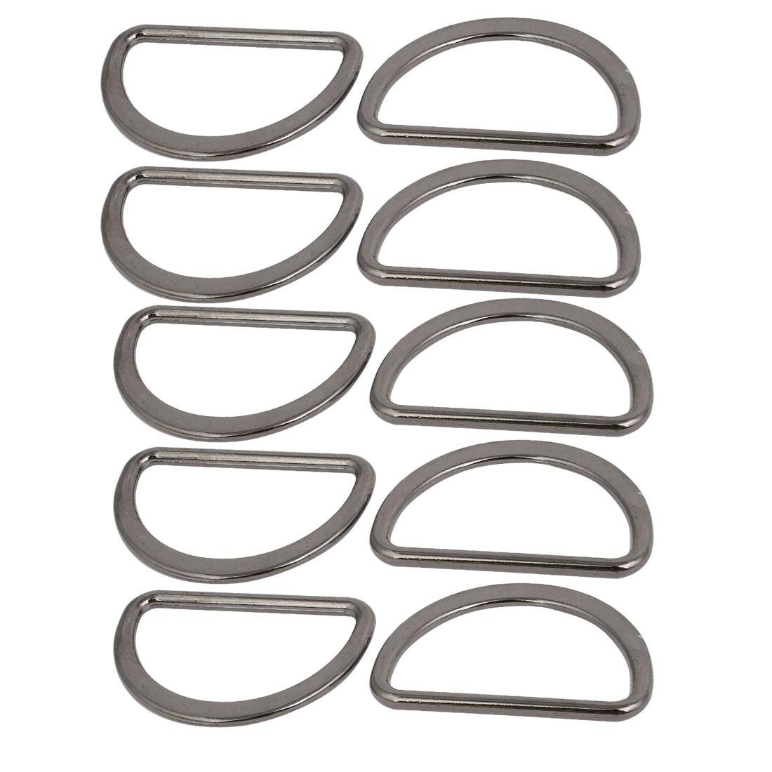 40mm/1.6'' Inner Width Zinc Alloy D Welded Ring Silver Black 10pcs
