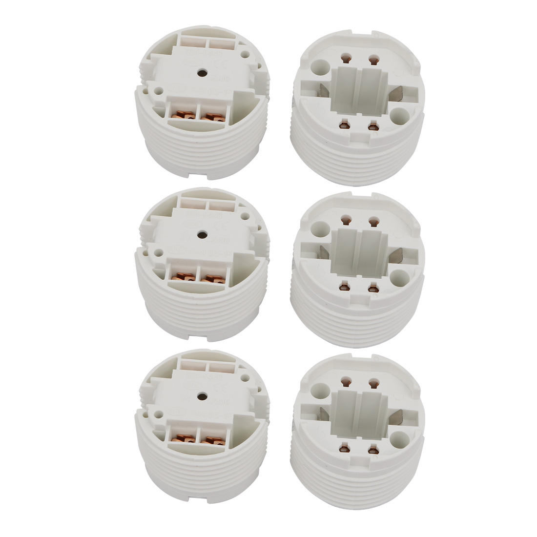 6 Pcs F448Q AC 500V 2A G24 Base H Light Socket Fluorescent Tube Lamp Holder