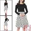 Women Polka Dots Color Block Cut Out Shoulder Above Knee Dress White XS