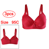Women Cozy Soft Comfortable Smooth Freedom Thin Cup Wirefree Bra Red 95C