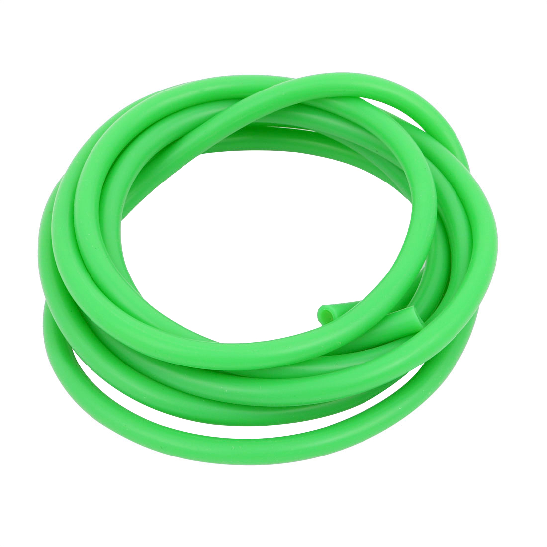 5mm x 7mm High Temp Resistant Silicone Rubber Tube Hose Pipe Green 2 Meters Long