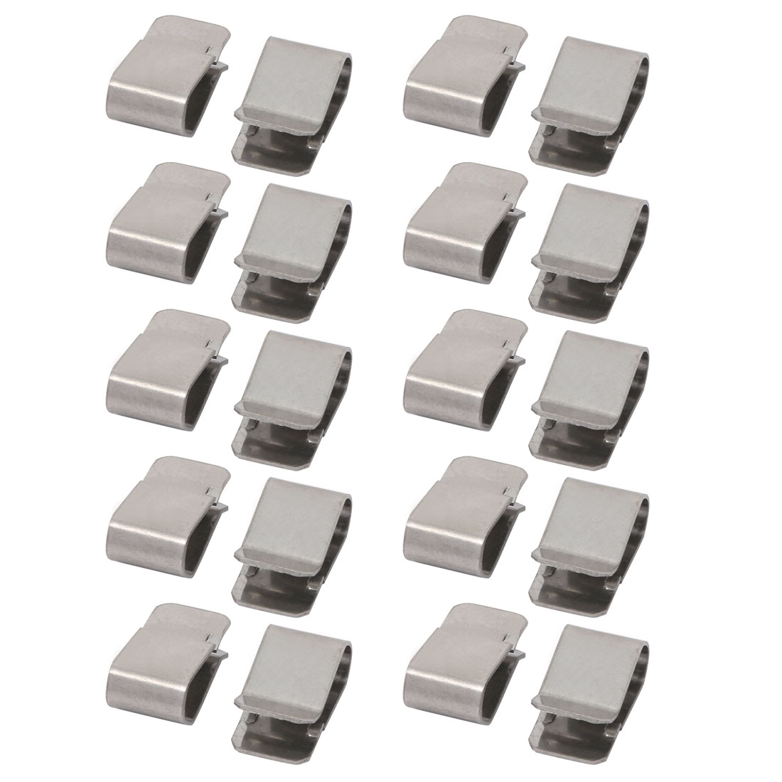 20pcs 22mmx12mm 304 Stainless Steel U Clip Silver Tone for 3.5mm Pipe