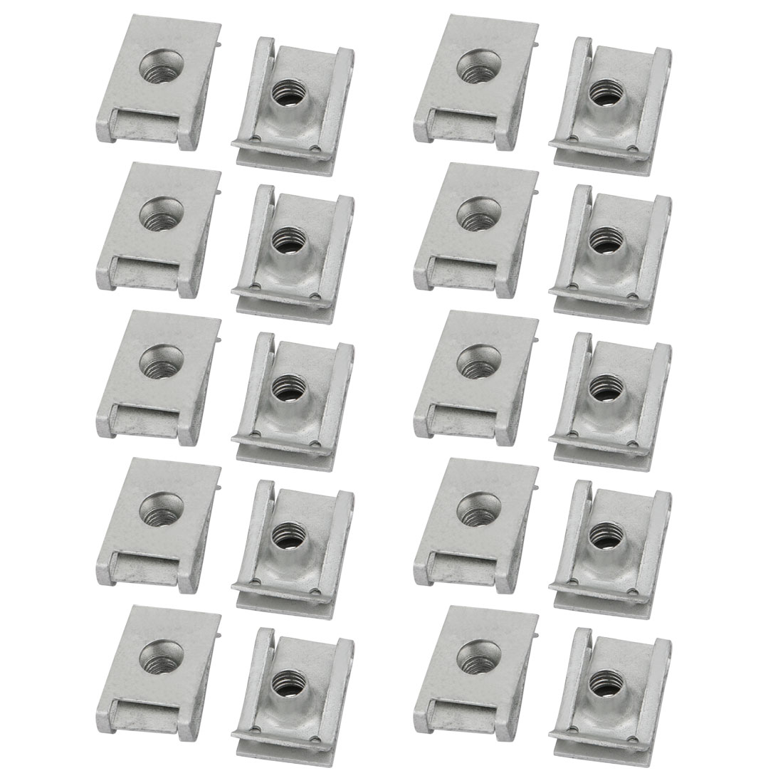 M6 24mmx16mm 65Mn Spring Steel White Zinc Plated Extruded U Nut Clip 20pcs