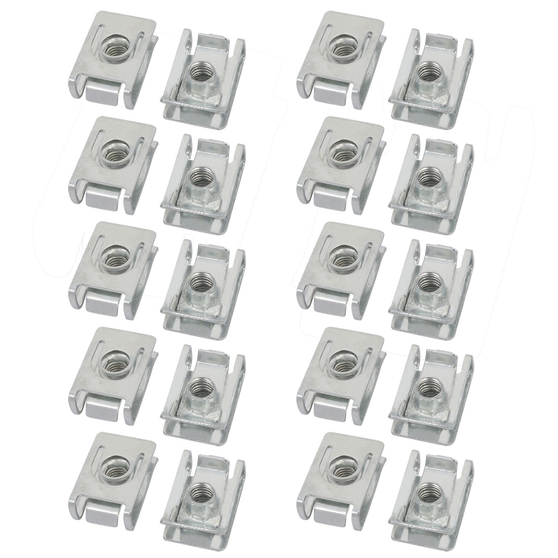 M6 23mmx15mm Iron Zinc Plated Extruded U Nut Clip 20pcs