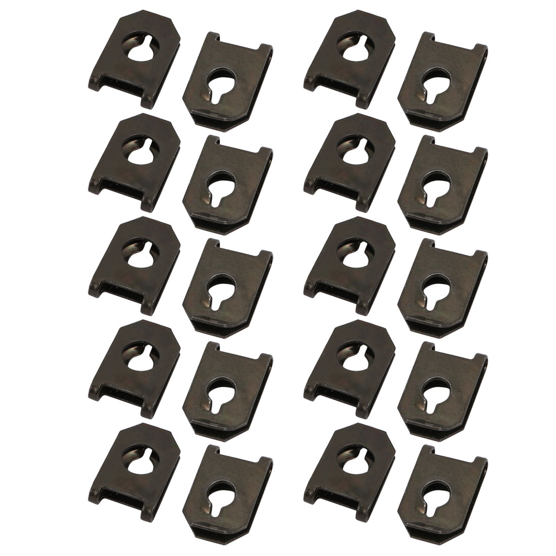20pcs 65Mn Spring Steel Oxidized Black Extruded U Nut Clip for ST6.3 Bolt