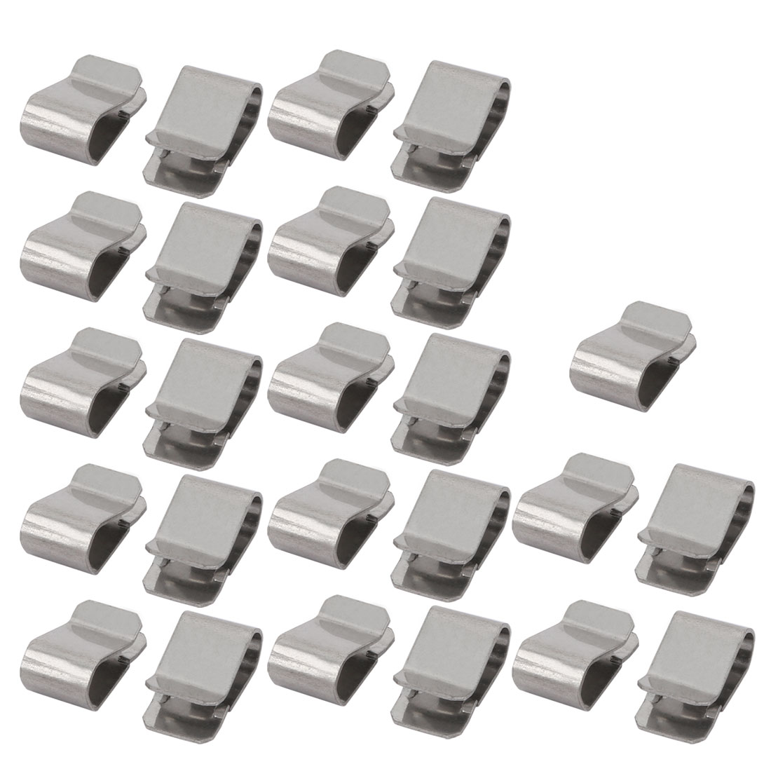 25pcs 21mmx12mm 304 Stainless Steel U Clip Silver Tone for 3.5mm Pipe
