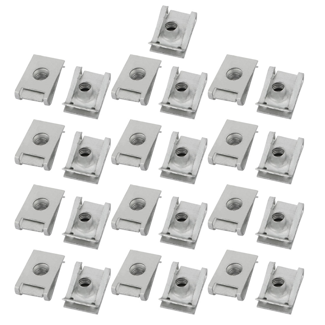 M6 24mmx16mm 65Mn Spring Steel White Zinc Plated Extruded U Nut Clip 25pcs