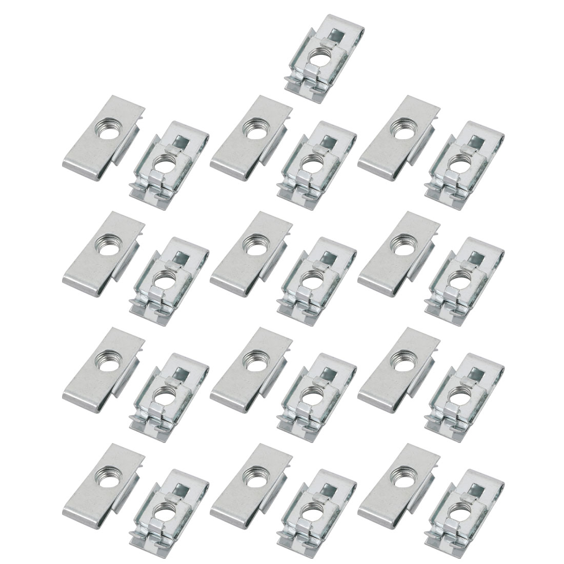 M6 24mmx10mm Iron White Zinc Plated Extruded U Nut Clip 25pcs