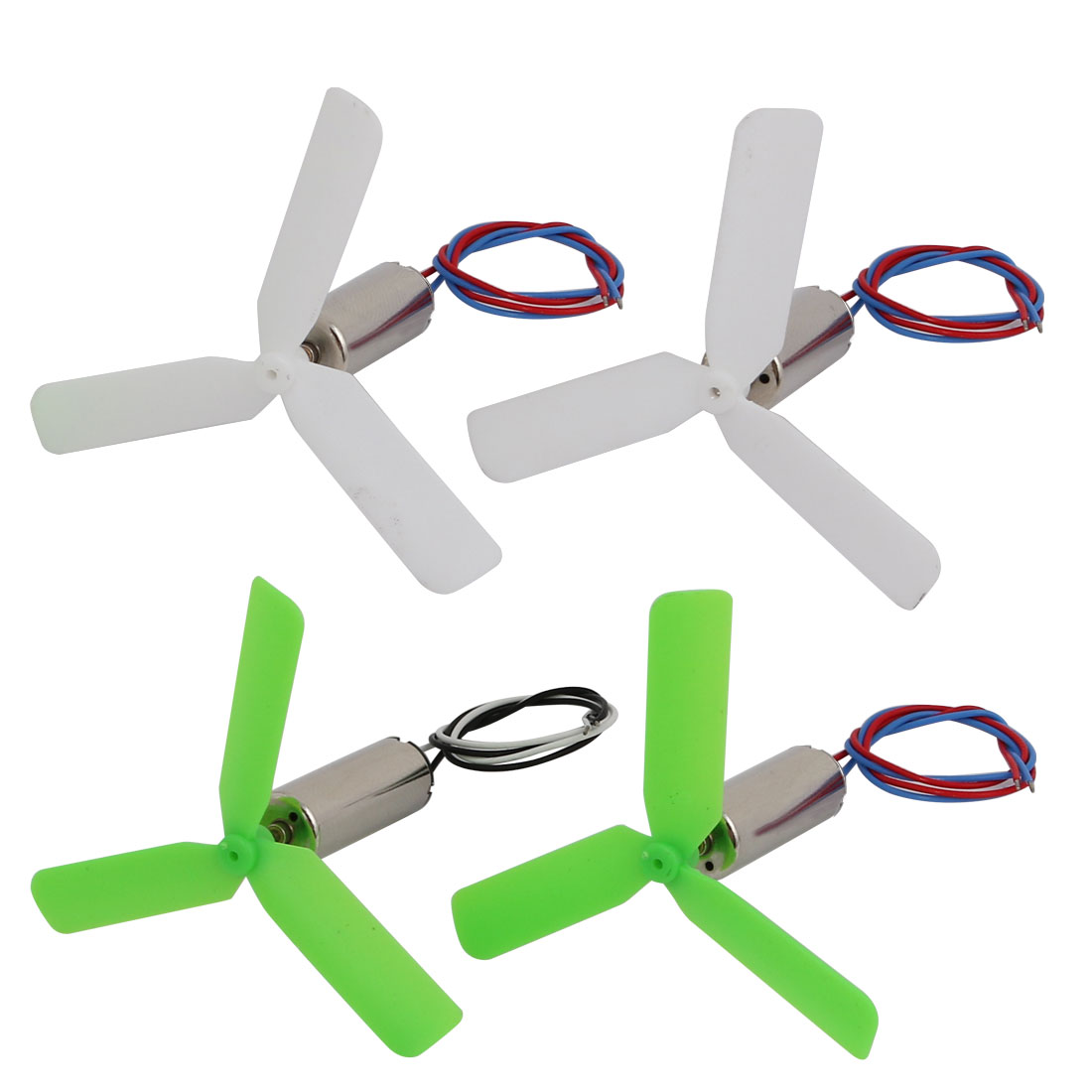 2pair DC3.7V 23900RPM 7mm x 20mm Motor w Green White 3-Vanes CW CCW Propeller
