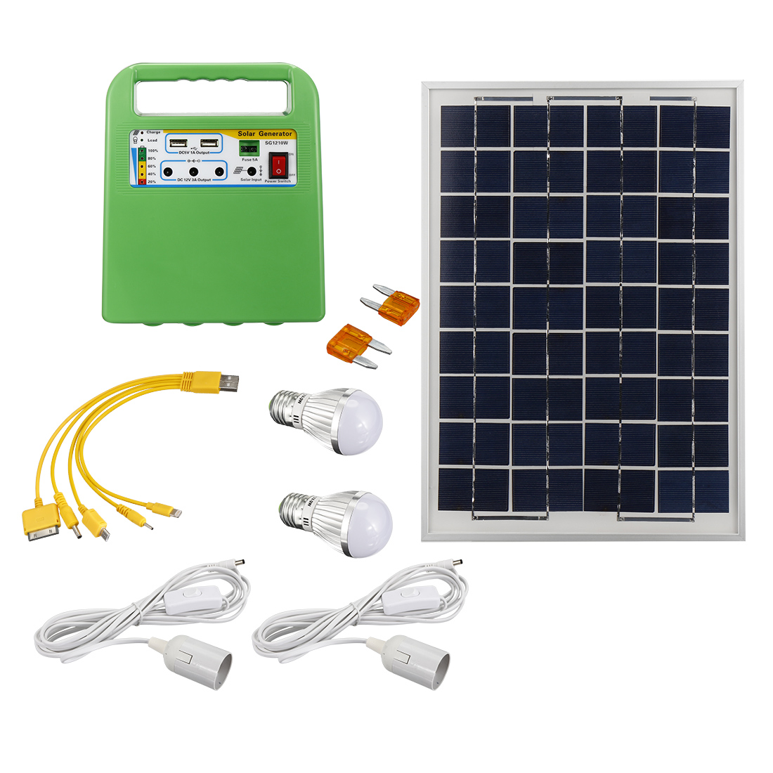 Portable Solar Panel Power Storage Generator LED Light USB Charger Home System