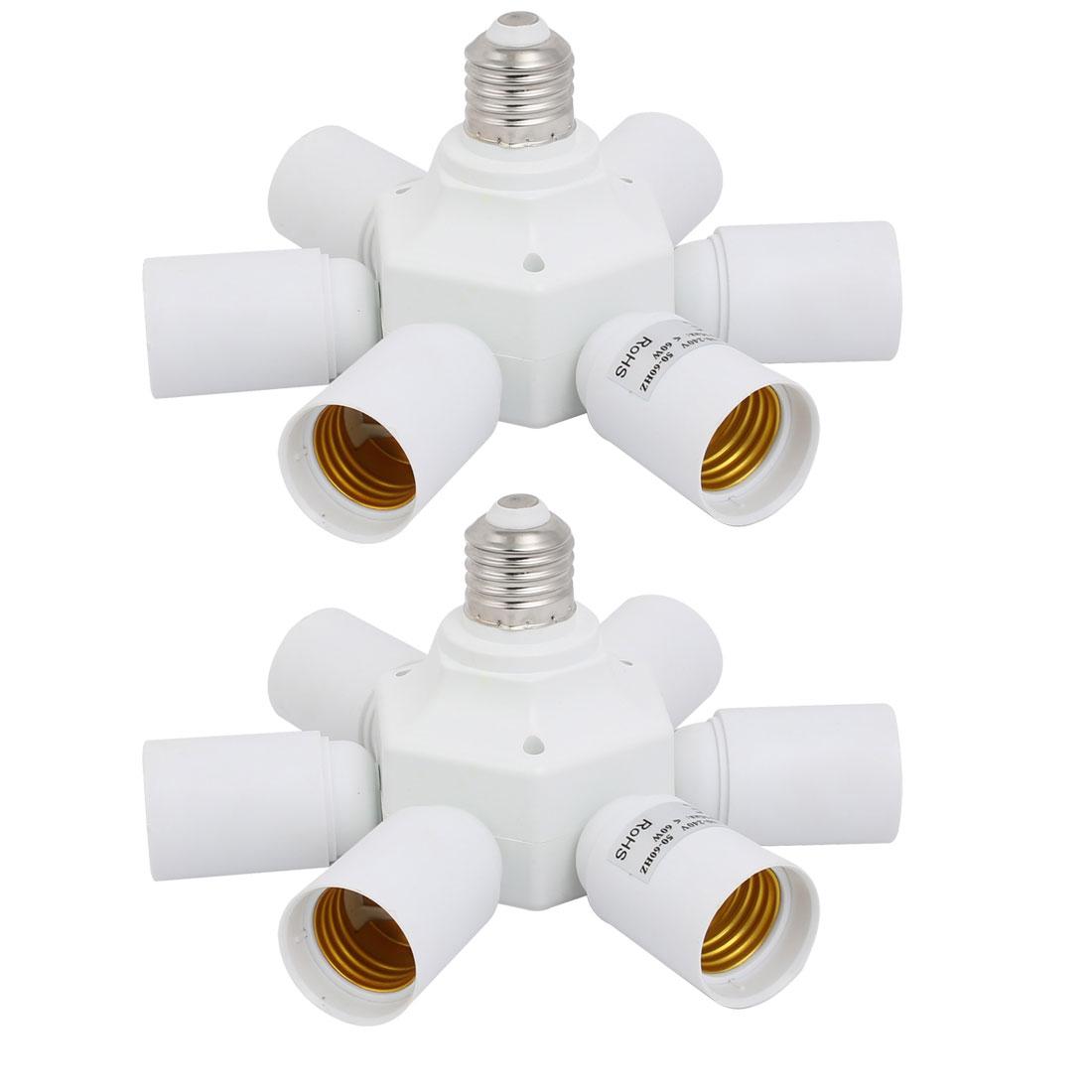 2pcs E27 to Seven E27 Light Socket Splitter Lamp Bulb Base Adapter Holder