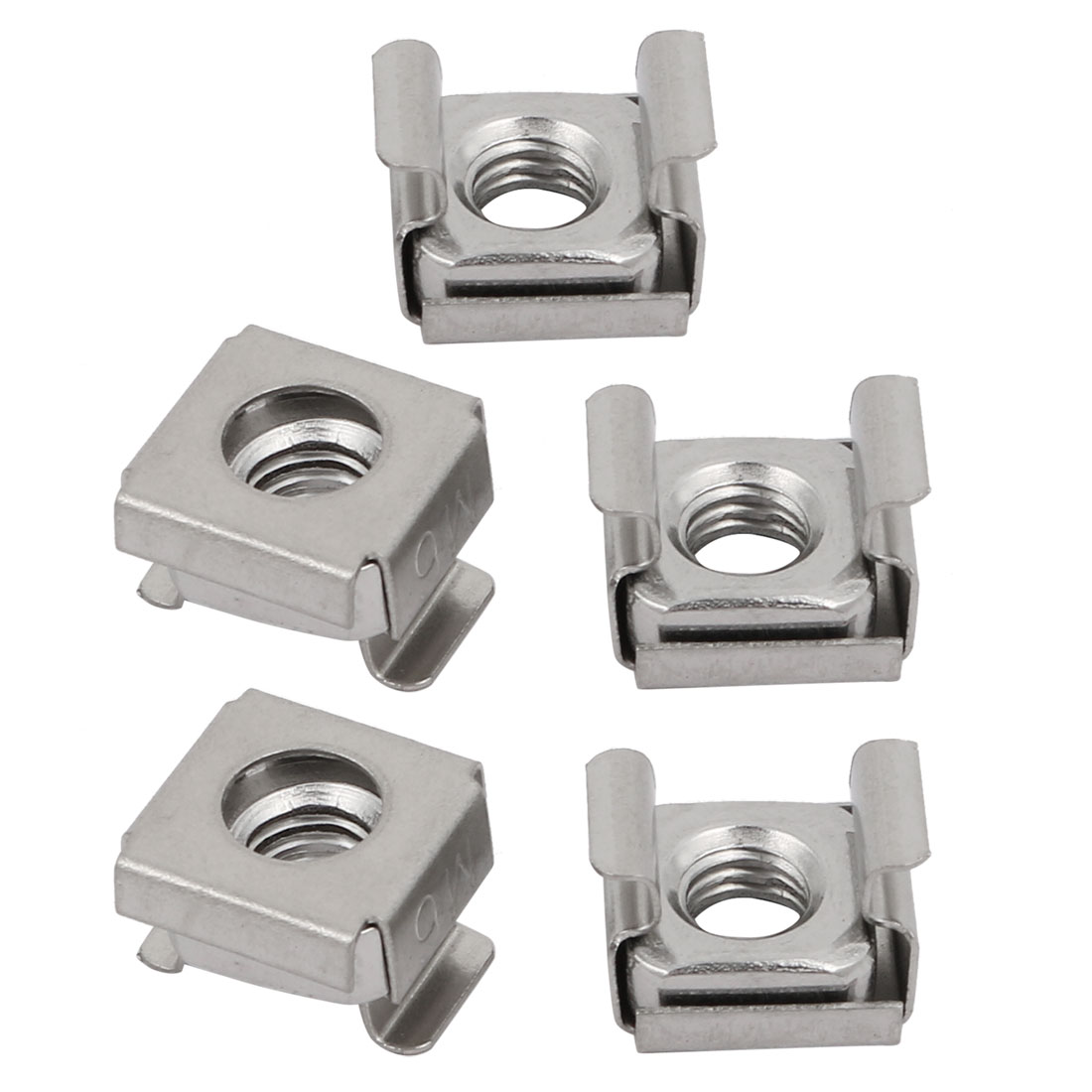 5pcs M6 304 Stainless Steel Cage Nut Silver Tone for Server Shelf Cabinet