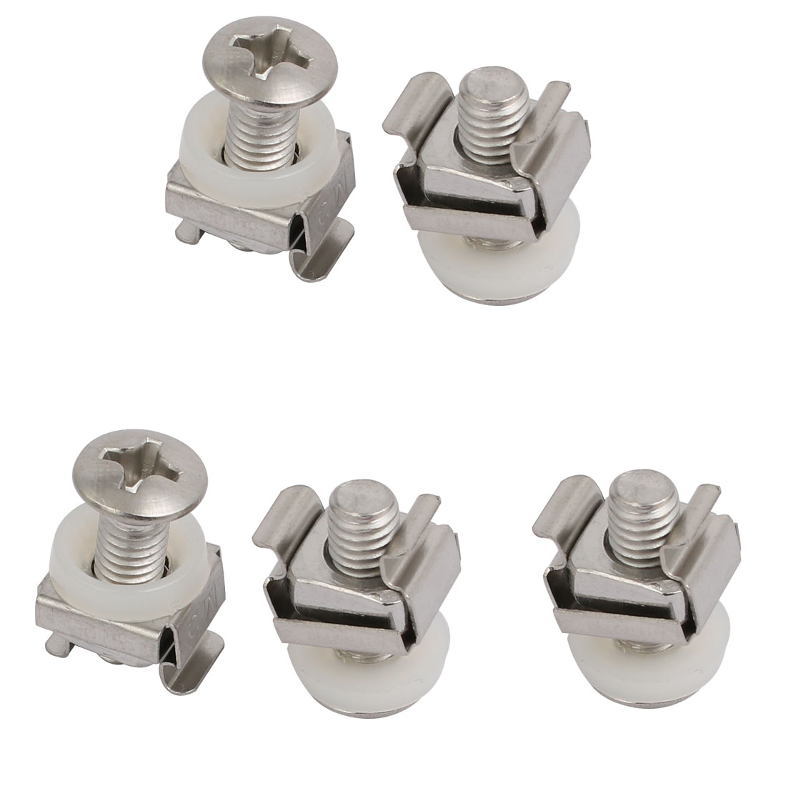 5pcs M6 Cage Nuts w Mounting Screws Washers for Server Rack Shelf Cabinet