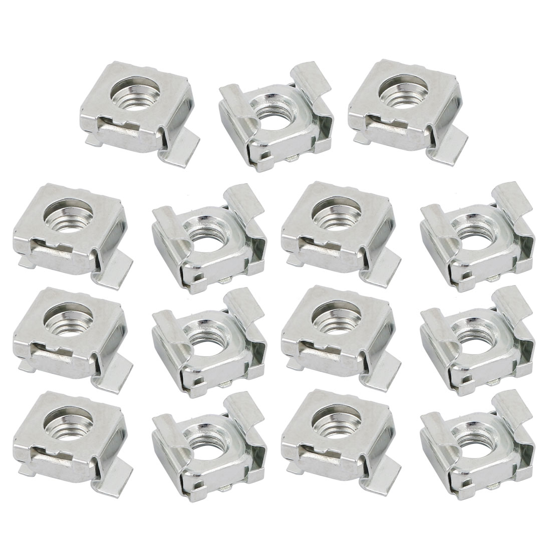 15pcs M6 Carbon Steel Zinc Plated Cage Nut Silver Tone for Server Shelf Cabinet