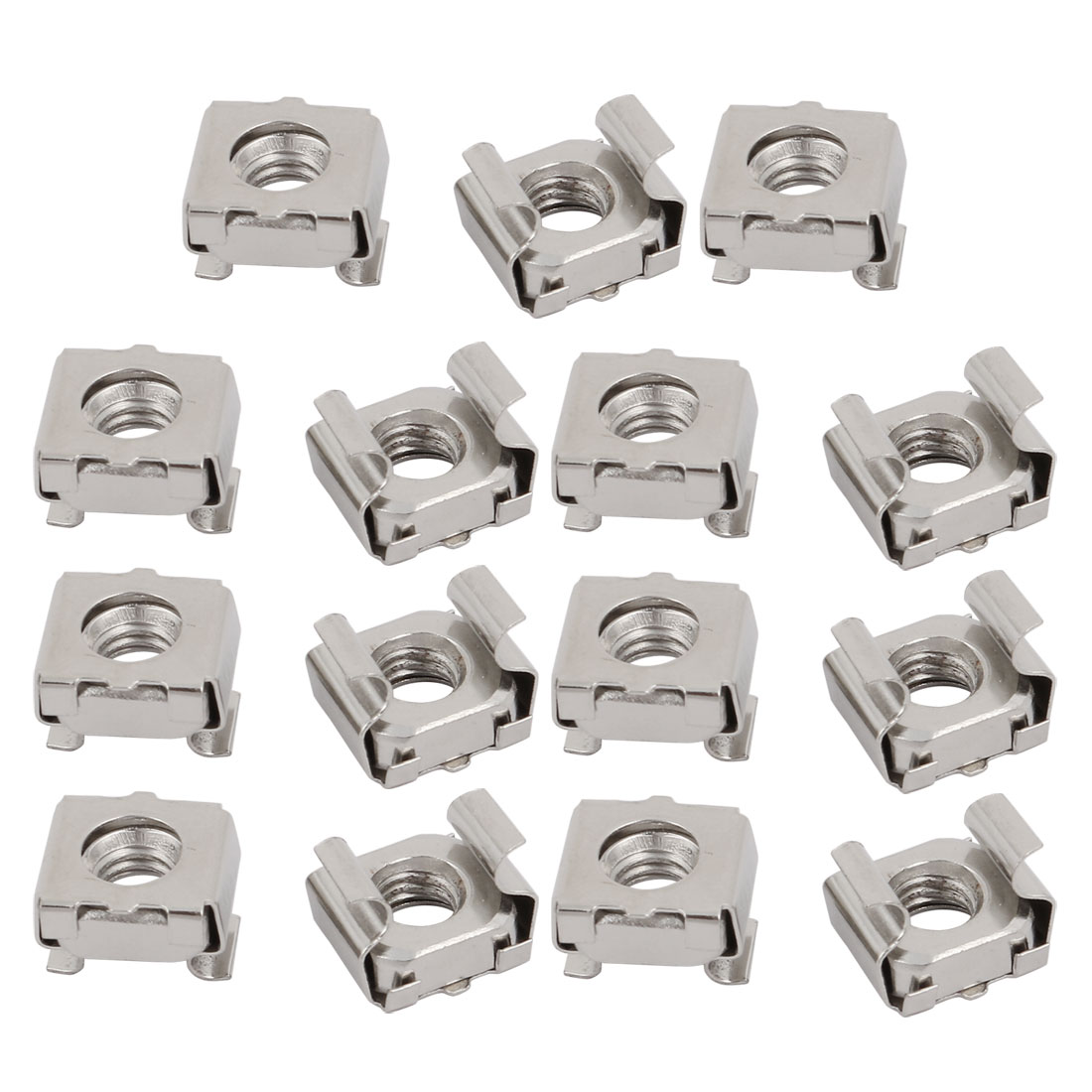 15pcs M6 Carbon Steel Nickle Plated Cage Nut for Server Shelf Cabinet
