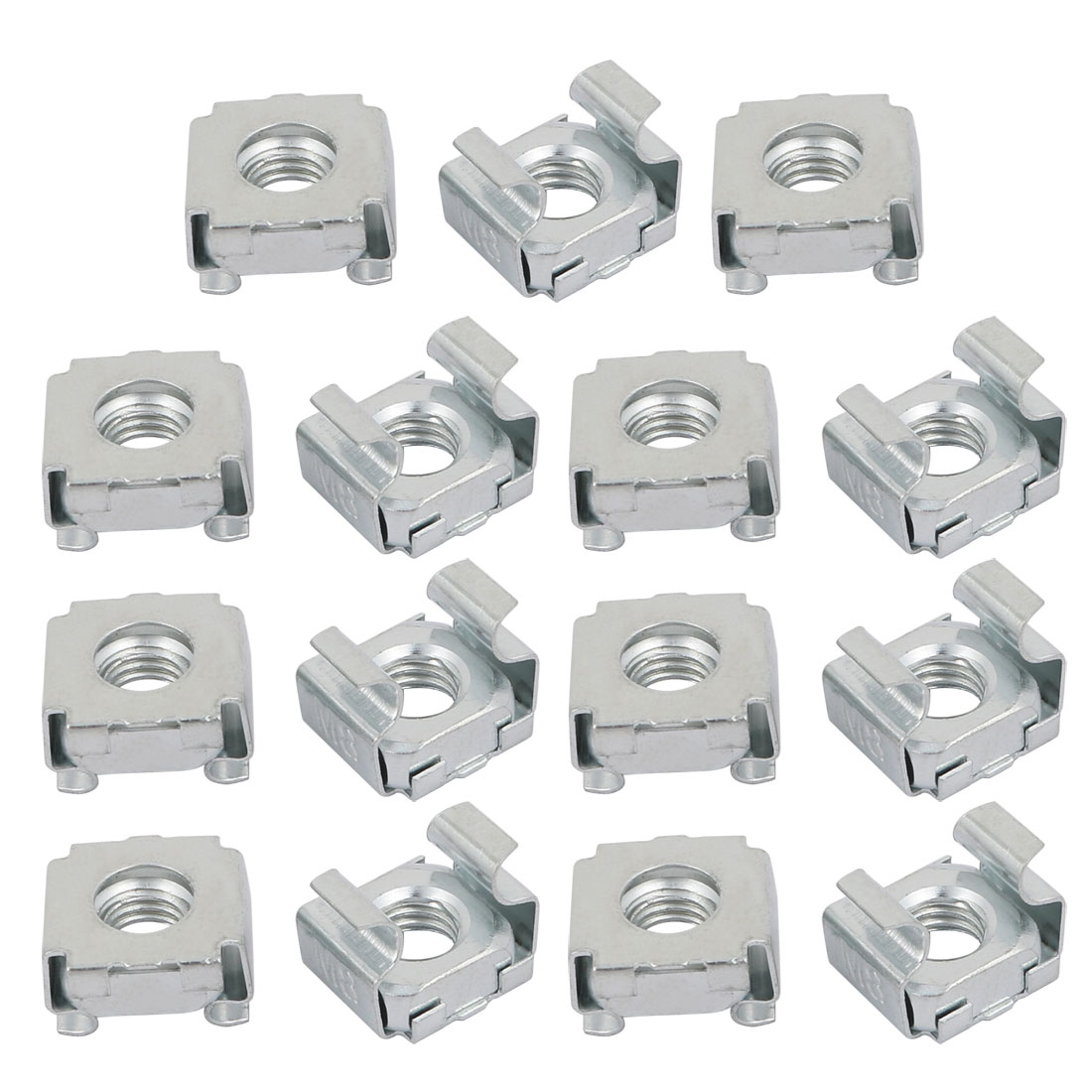 15pcs M8 Carbon Steel Zinc Plated Cage Nut Silver Tone for Server Shelf Cabinet