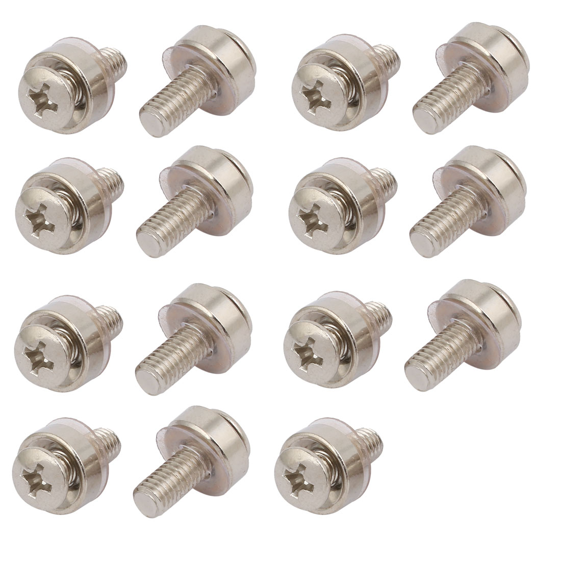 15pcs M5 Carbon Steel Mounting Screws Silver Tone for Server Rack Cabinet
