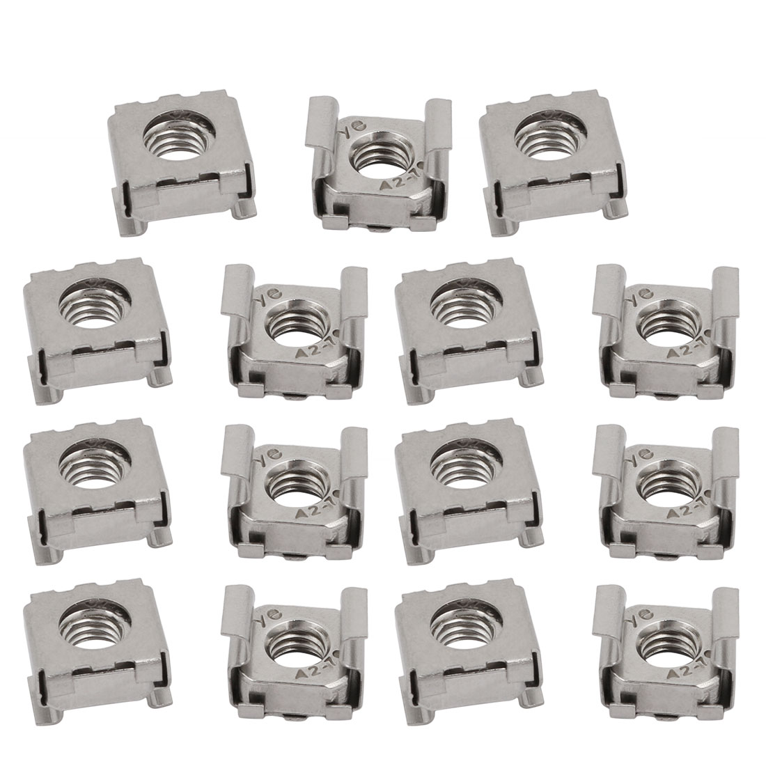15pcs M6 Stainless Steel Cage Nut Silver Tone for Server Shelf Cabinet