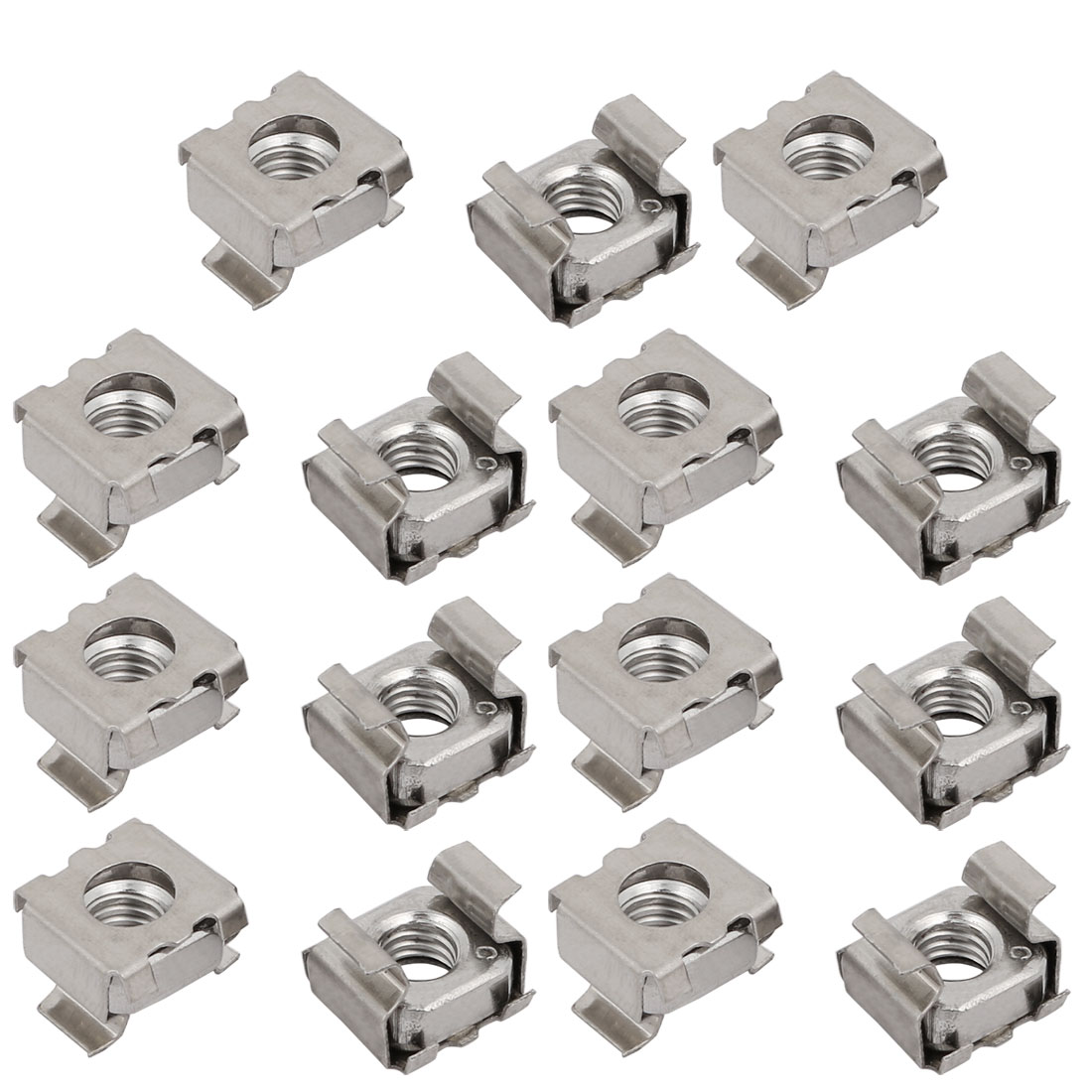 15pcs M6 304 Stainless Steel Cage Nut Silver Tone for Server Shelf Cabinet