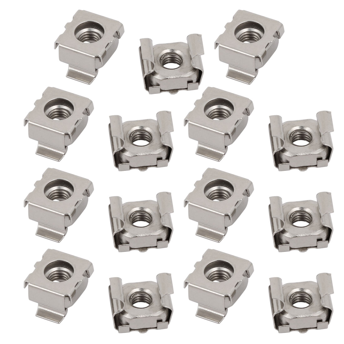 15pcs M5 65Mn Steel Nickle Plated Cage Nut Silver Tone for Server Shelf Cabinet