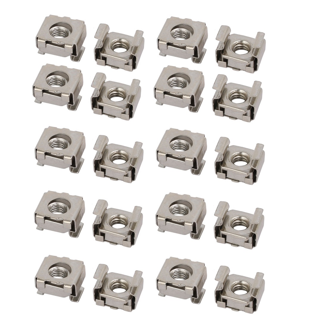20pcs M5 65Mn Steel Captive Cage Nut Silver Tone for Server Shelf Cabinet