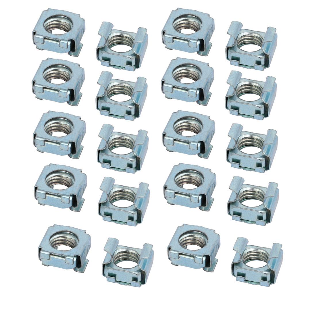 20pcs M10 Carbon Steel Captive Cage Nut Silver Blue for Server Shelf Cabinet