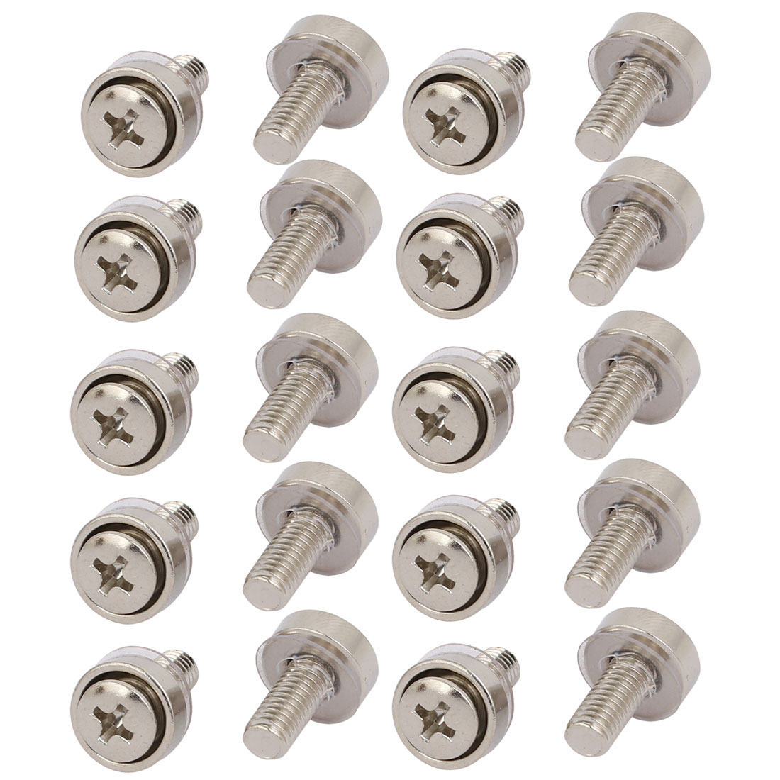 20pcs M6 Carbon Steel Mounting Screws Silver Tone for Server Rack Cabinet