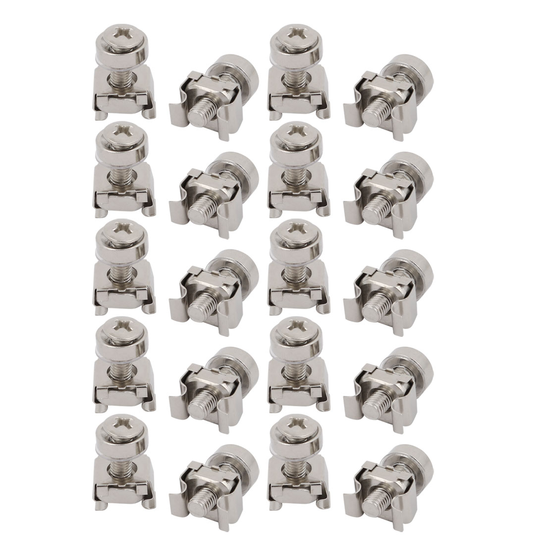 20pcs M5x20mm Carbon Steel Cage Nuts w Screws Washers for Server Rack Cabinet