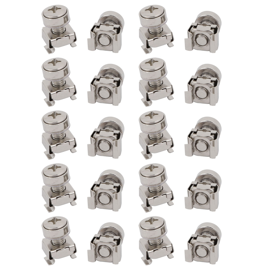20pcs M6x16mm Carbon Steel Cage Nuts w Screws Washers for Server Rack Cabinet