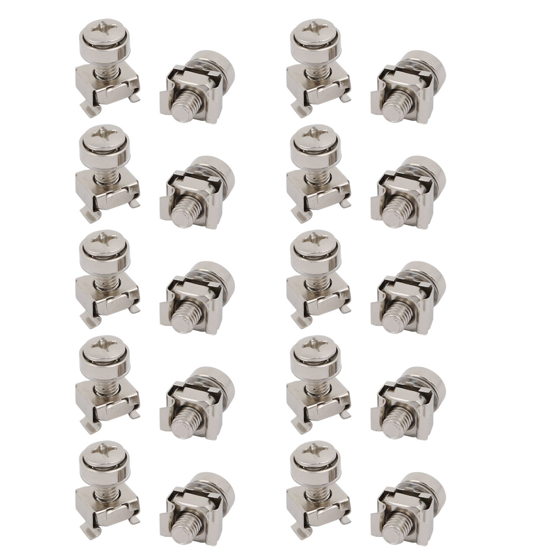 20pcs M6x20mm Carbon Steel Cage Nuts w Screws Washers for Server Rack Cabinet